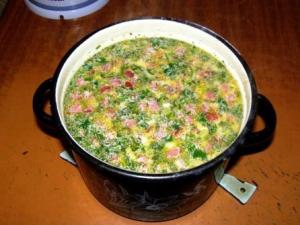 сырный суп с колбасой фото