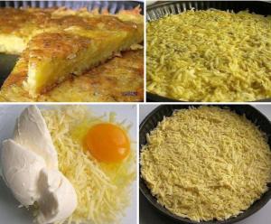 Запеканка из тертого картофеля с сыром и чесноком
