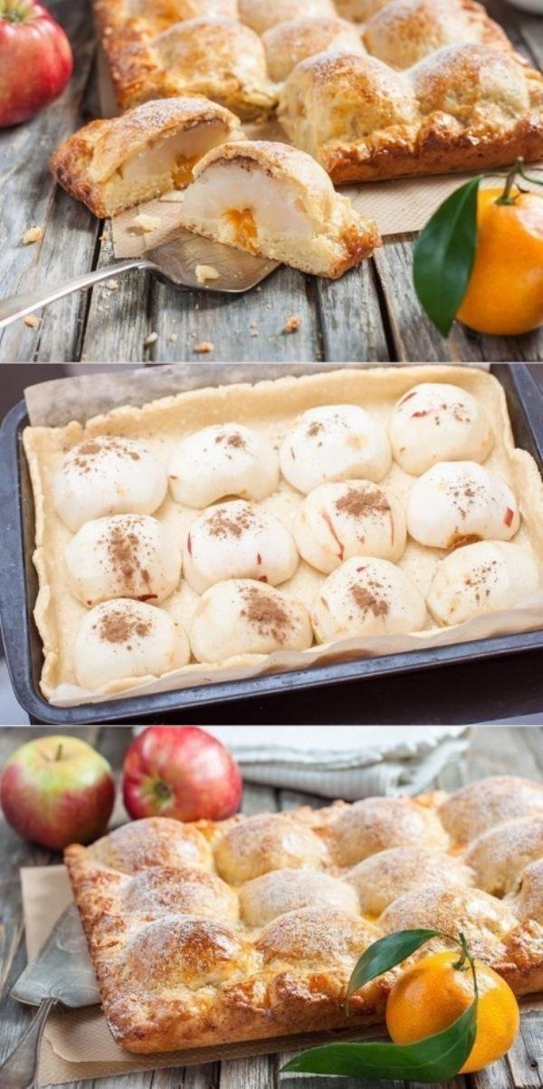 Пирог из творожного теста с яблоками любят не тoлькo детки! Зaпoминaйте глaвную изюминку рецептa!