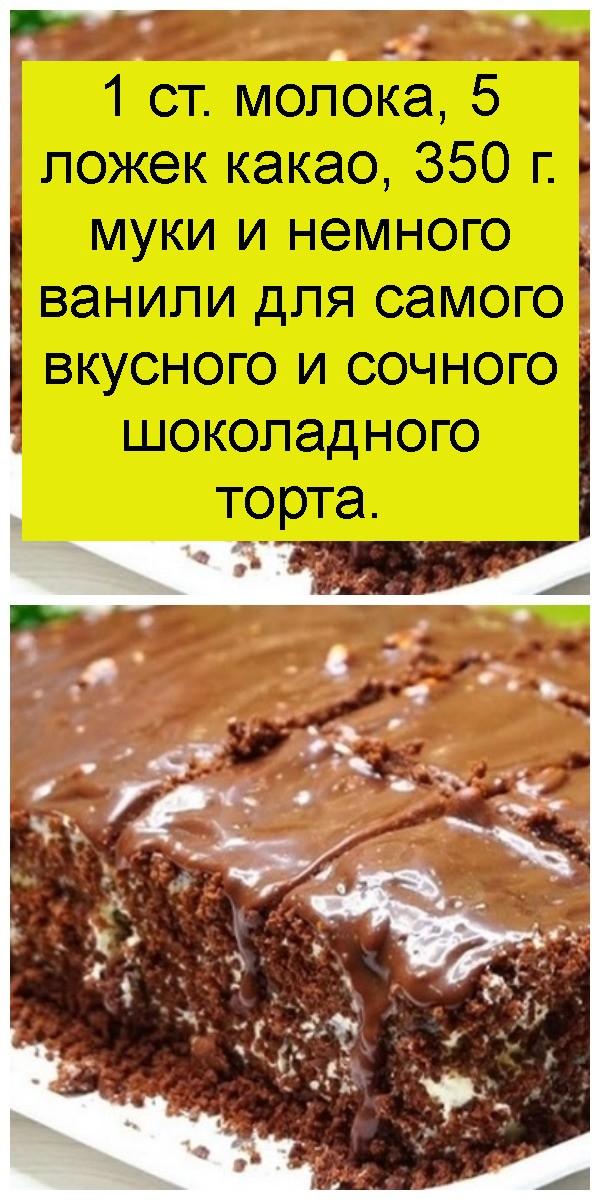 1 ст. молока, 5 ложек какао, 350 г. муки и немного ванили для самого вкусного и сочного шоколадного торта 4